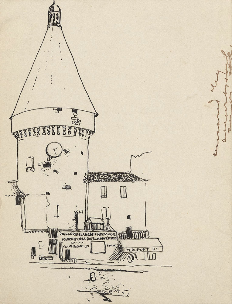 Postcard to Marie Lawson, drawing of a tower