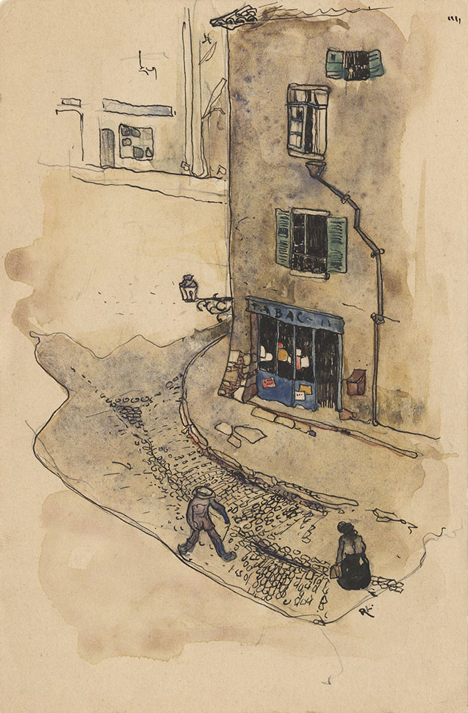 Postcard to Marie Lawson, watercolor of town square
