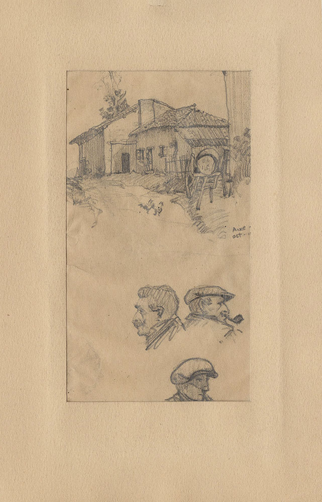 Sketch of farmhouse and faces