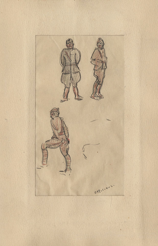 Sketch of WWI officers