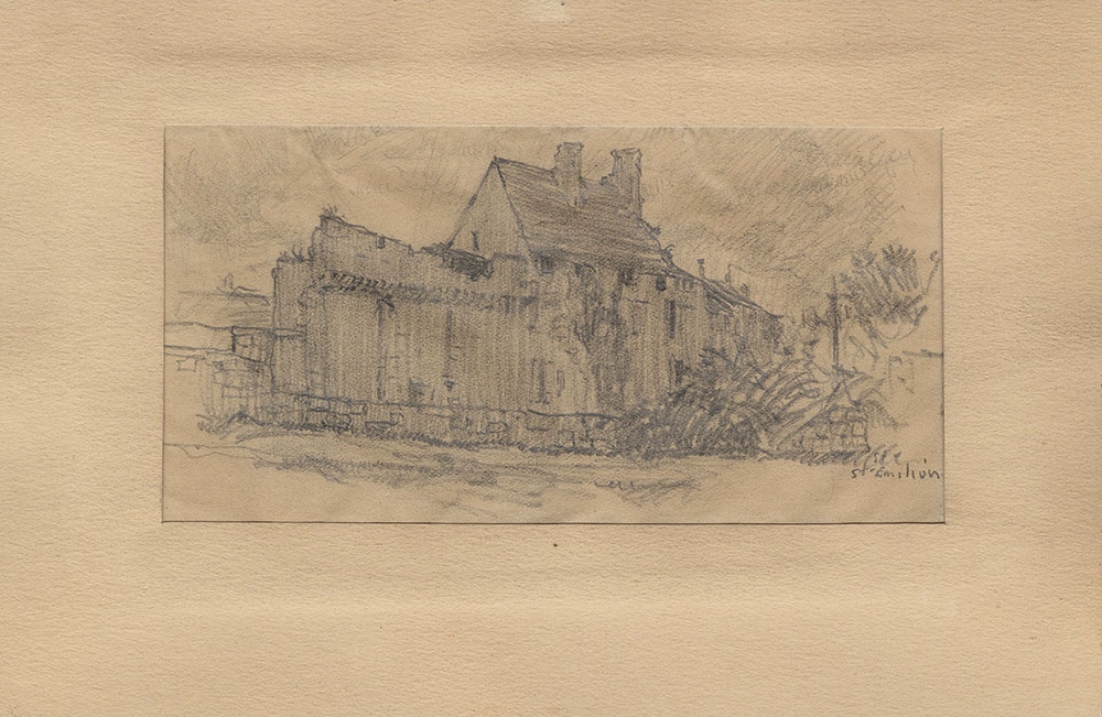 Sketch of a stone wall in Saint-Emilion