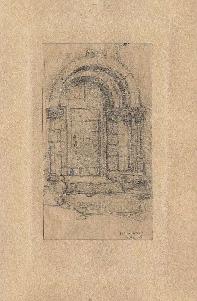 Sketch of an arched doorway in Saint-Leonard