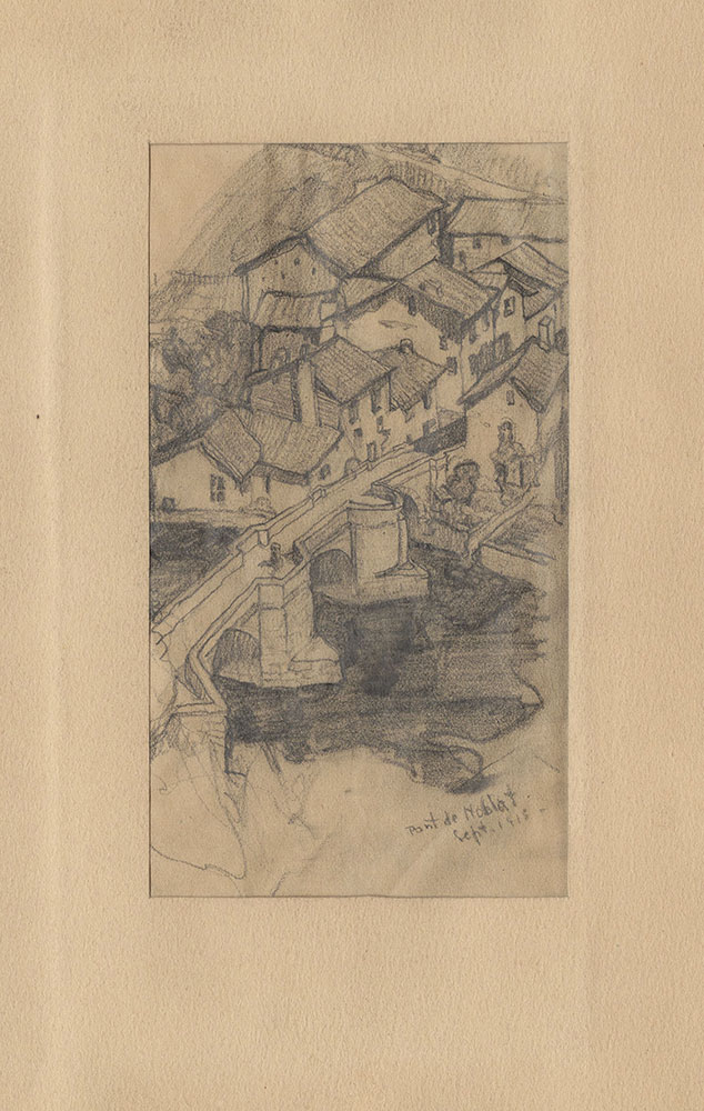 Sketch of a town and bridge in France