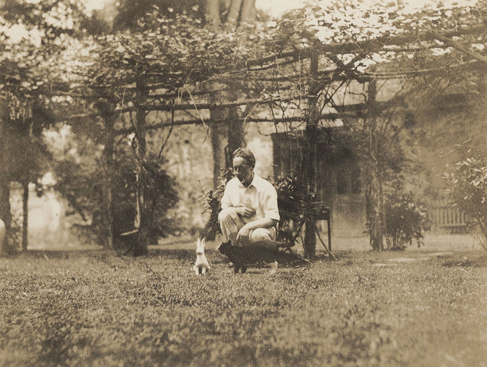 Robert Lawson playing with his cat in the garden