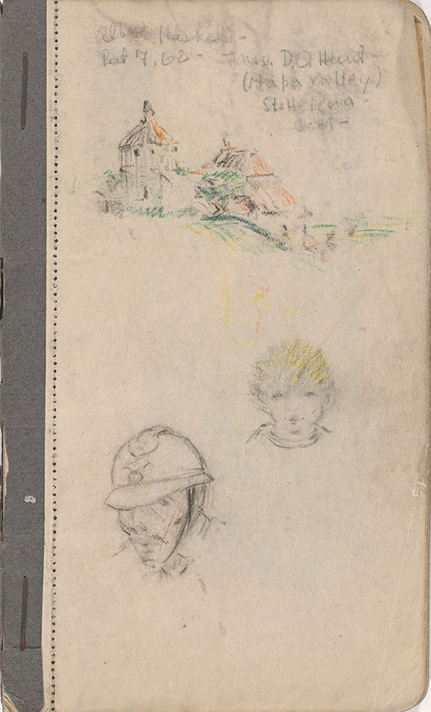 Sketchbook from Robert Lawson's WWI deployment in France, page 1