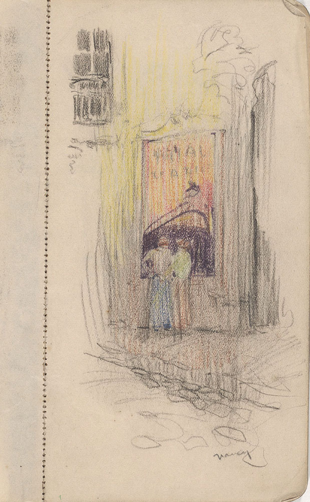 Sketchbook from Robert Lawson's WWI deployment in France, page 3