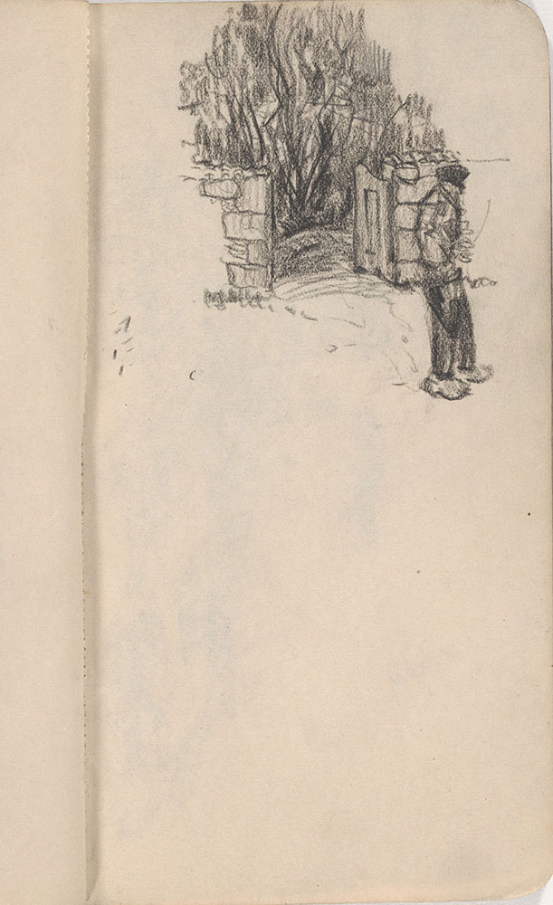 Sketchbook from Robert Lawson's WWI deployment in France, page 15