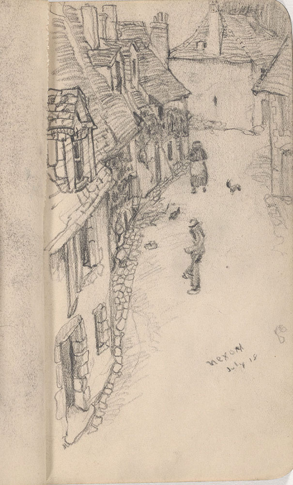 Sketchbook from Robert Lawson's WWI deployment in France, page 17