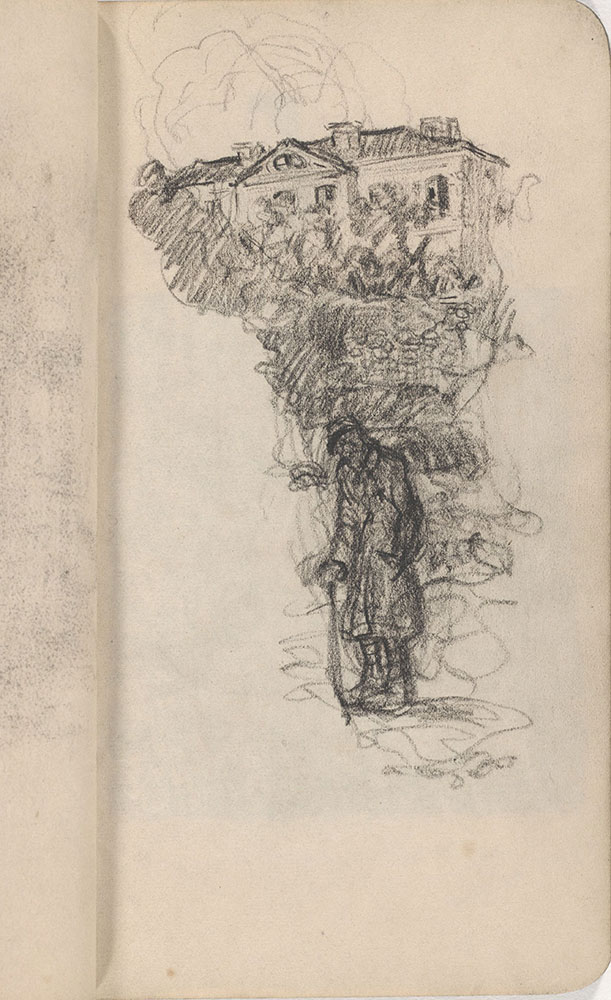 Sketchbook from Robert Lawson's WWI deployment in France, page 21