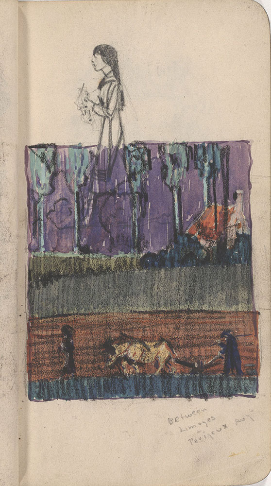 Sketchbook from Robert Lawson's WWI deployment in France, page 23