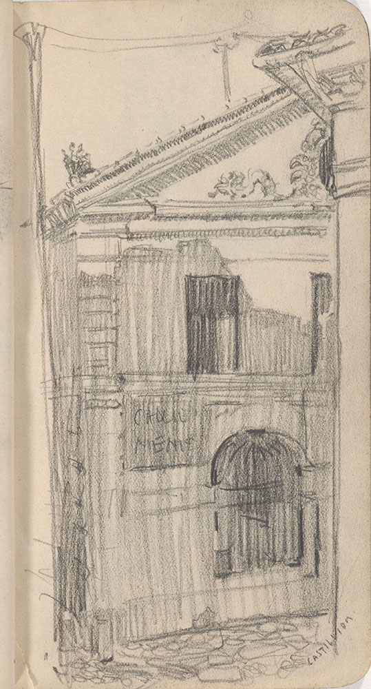 Sketchbook from Robert Lawson's WWI deployment in France, page 33