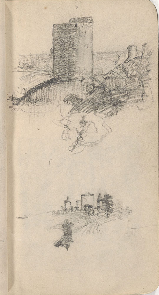 Sketchbook from Robert Lawson's WWI deployment in France, page 35