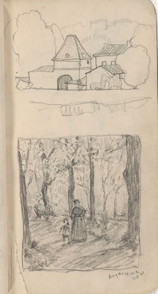 Sketchbook from Robert Lawson's WWI deployment in France, page 37