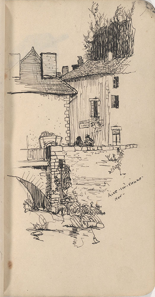 Sketchbook from Robert Lawson's WWI deployment in France, page 39