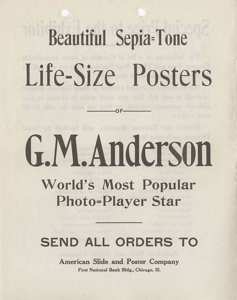 G. M. Anderson Poster Advertisement