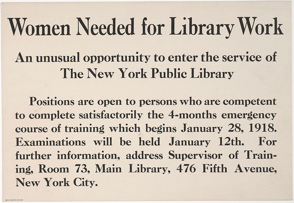 Women Needed for Library Work