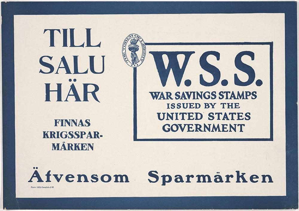 W.S.S: War Savings Stamps (Swedish)